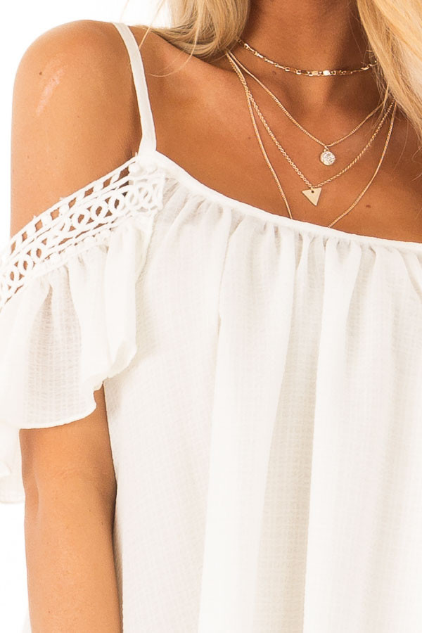 Ivory Off the Shoulder Top with Lace Detail detail