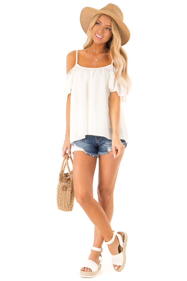 Ivory Off the Shoulder Top with Lace Detail front full body