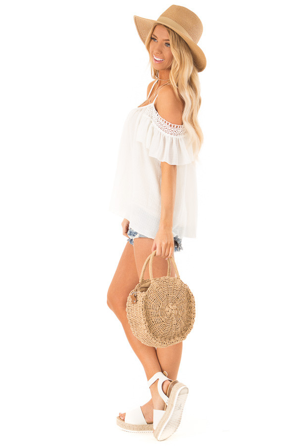 Ivory Off the Shoulder Top with Lace Detail side full body