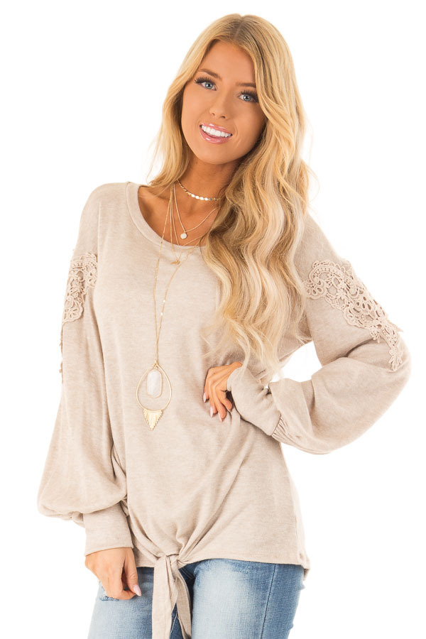 Faded Mocha Long Sleeve Top with Crochet Details and Tie front close up