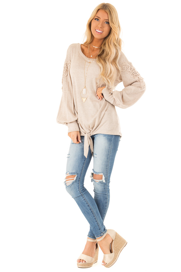 Faded Mocha Long Sleeve Top with Crochet Details and Tie front full body