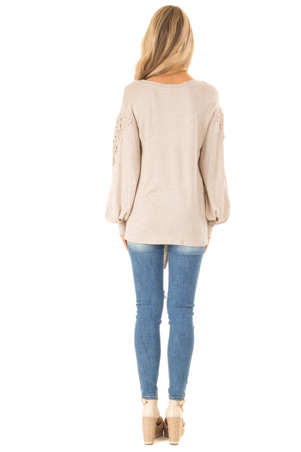 Faded Mocha Long Sleeve Top with Crochet Details and Tie back full body