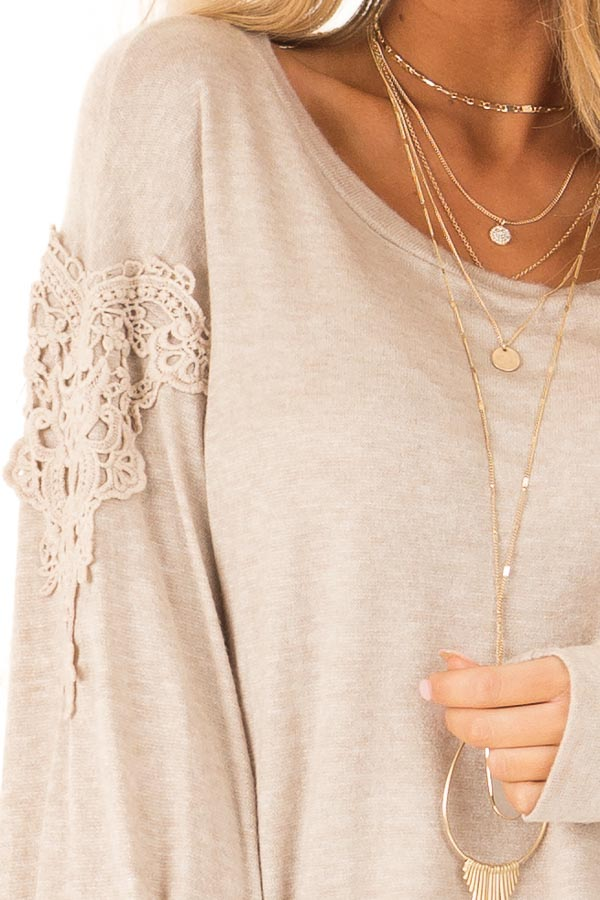 Faded Mocha Long Sleeve Top with Crochet Details and Tie detail