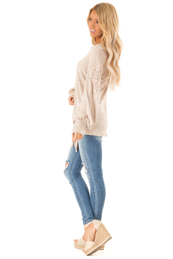 Faded Mocha Long Sleeve Top with Crochet Details and Tie side full body