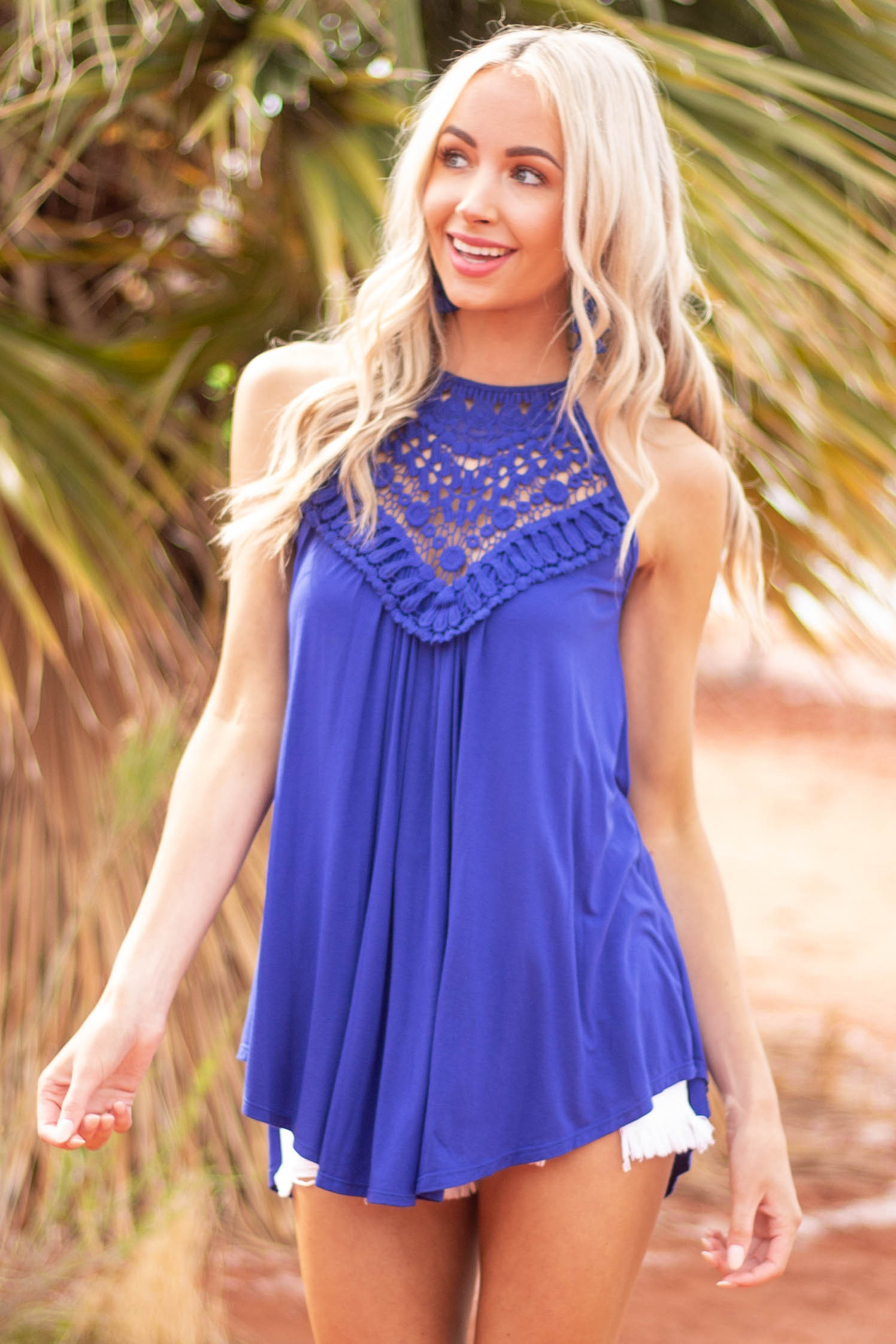 Cobalt Tank Top with Sheer Lace Chest