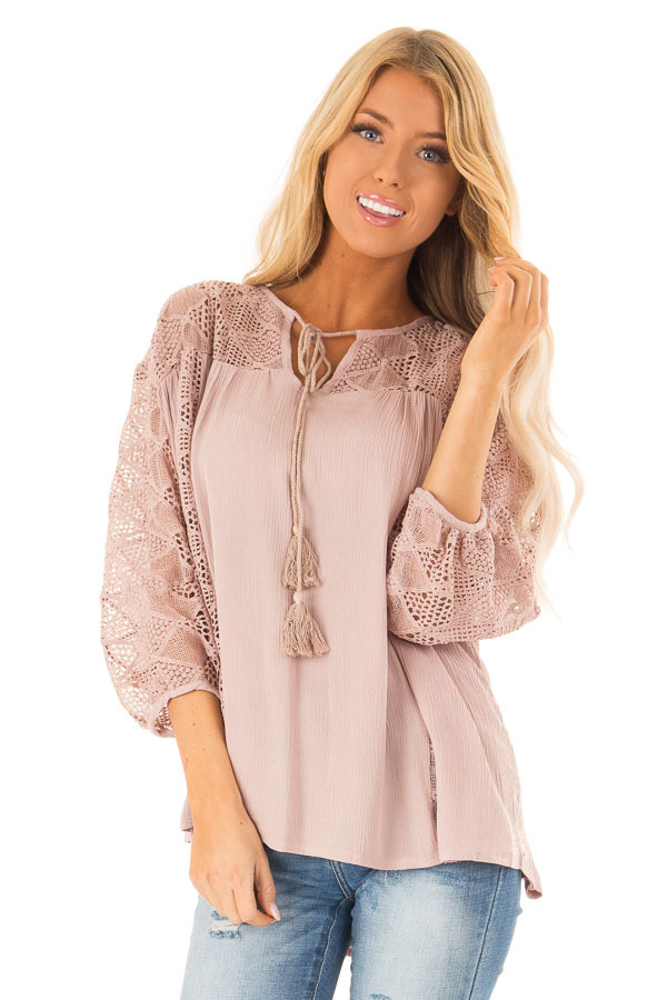Mauve 3/4 Sleeve Flowy top with Tassel Tie and Lace Yolk front close up