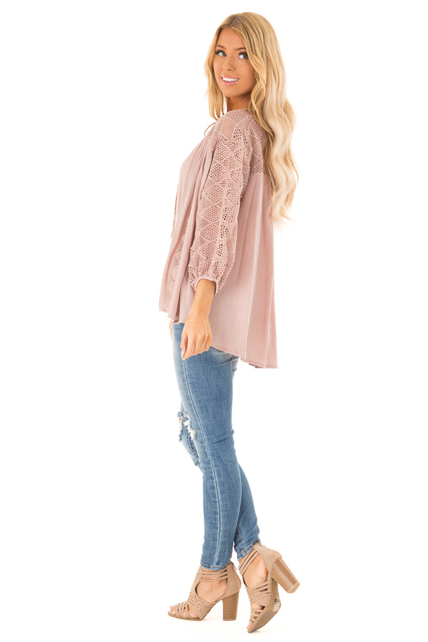 Mauve 3/4 Sleeve Flowy top with Tassel Tie and Lace Yolk side full body