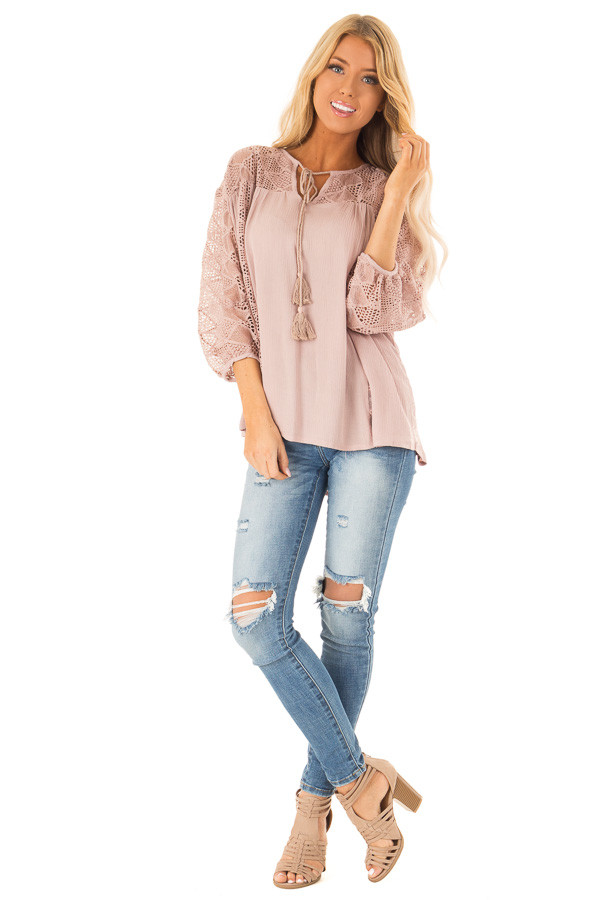 Mauve 3/4 Sleeve Flowy top with Tassel Tie and Lace Yolk front full body