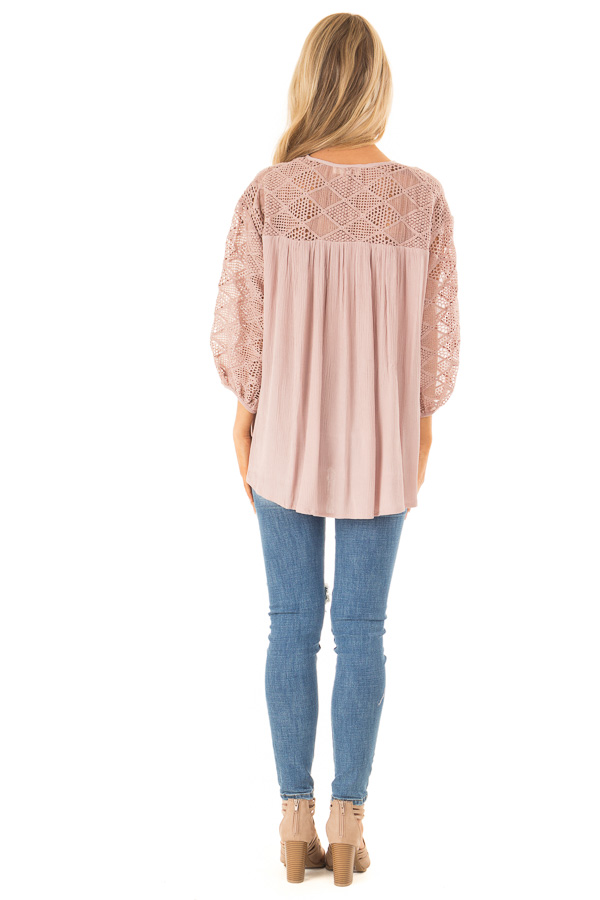 Mauve 3/4 Sleeve Flowy top with Tassel Tie and Lace Yolk back full body