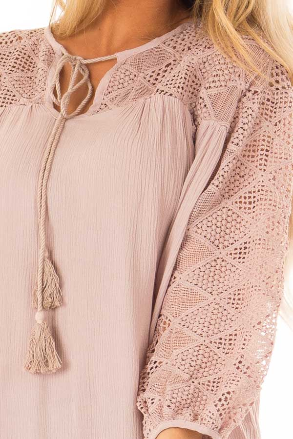 Mauve 3/4 Sleeve Flowy top with Tassel Tie and Lace Yolk detail