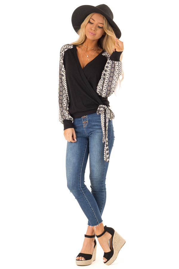 Black Wrap Style V Neck Top with Long Patterned Puff Sleeves front full body