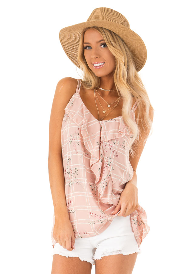 Dusty Blush Floral Print Tank Top with Ruffle Detail front close up