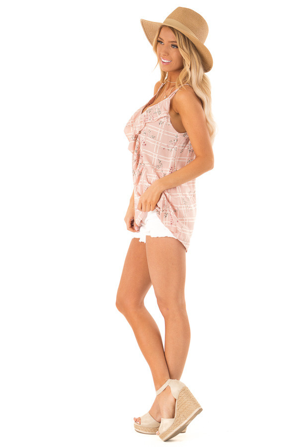 Dusty Blush Floral Print Tank Top with Ruffle Detail side full body