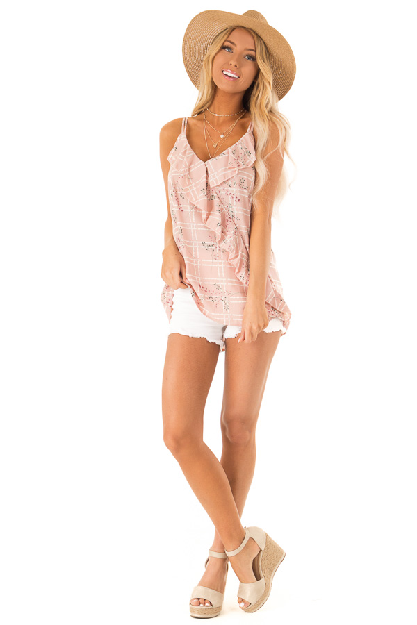 Dusty Blush Floral Print Tank Top with Ruffle Detail front full body