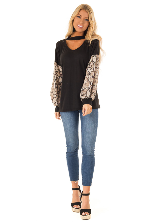 4fa02db7 Black Choker Style Top with Snake Print Long Sleeves front full body