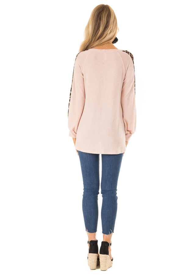 Blush Soft Tunic Top with Leopard Printed Balloon Sleeves back full body