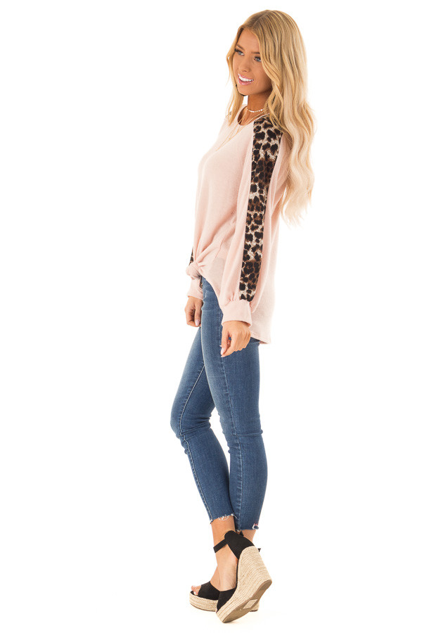 Blush Soft Tunic Top with Leopard Printed Balloon Sleeves side full body