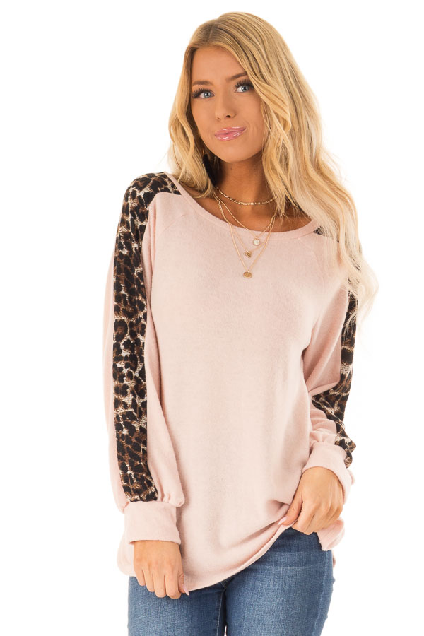 Blush Soft Tunic Top with Leopard Printed Balloon Sleeves front close up