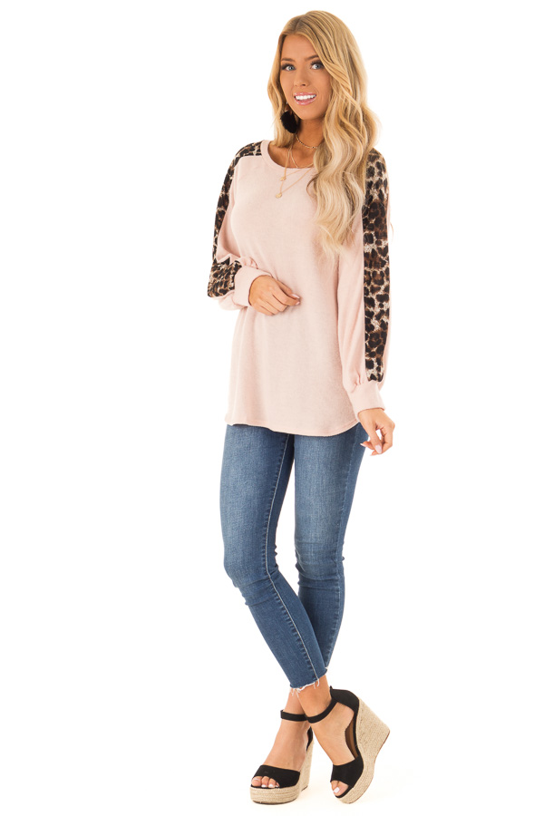 Blush Soft Tunic Top with Leopard Printed Balloon Sleeves front full body