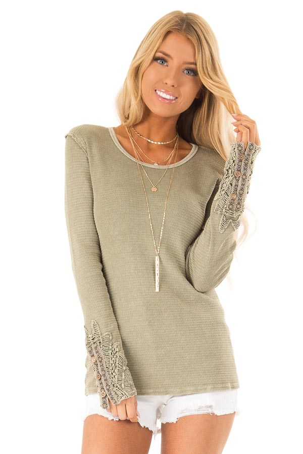 65621e4f9b00 Olive Textured Long Sleeve Top with Crochet Sleeve Detail front close up