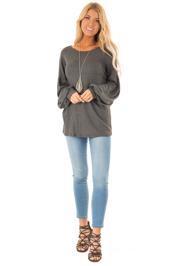 Charcoal Grey Waffle Knit Top with Criss Cross Open Back front full body