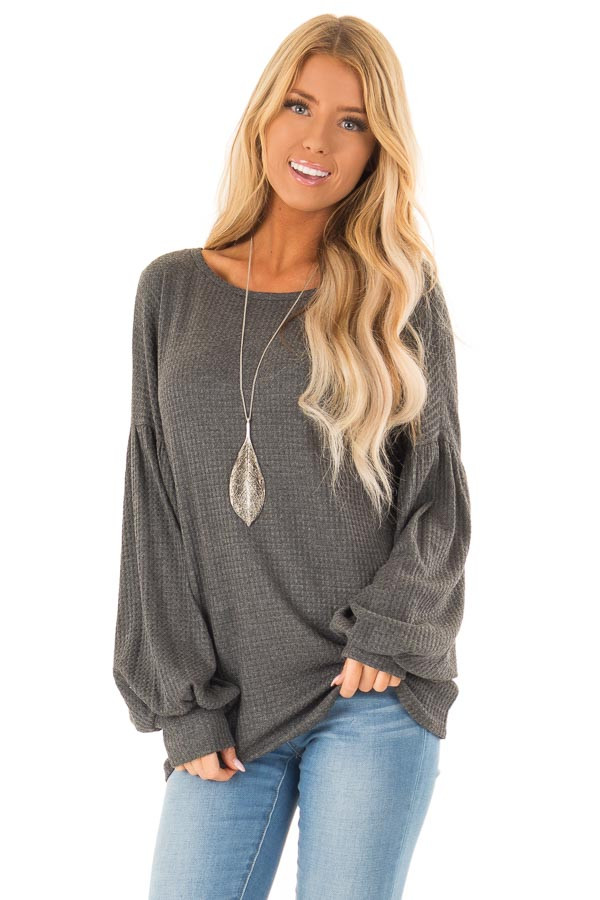 Charcoal Grey Waffle Knit Top with Criss Cross Open Back front close up