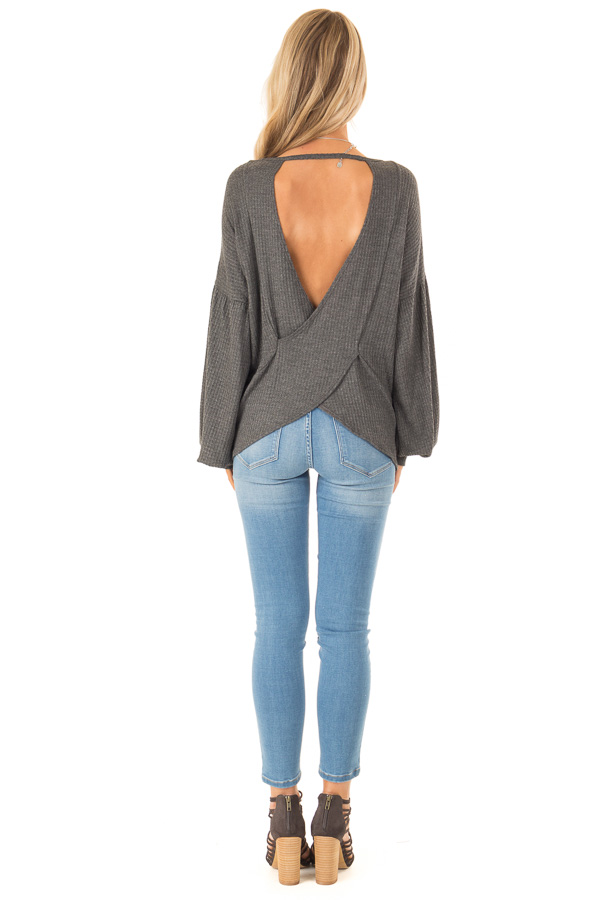 Charcoal Grey Waffle Knit Top with Criss Cross Open Back back full body