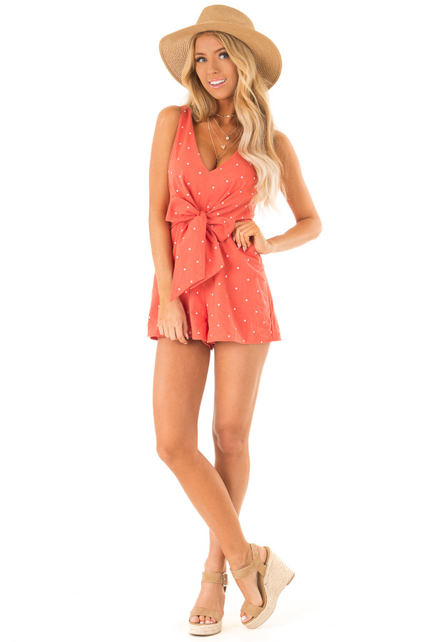Tangerine Sleeveless Polka Dot Romper with Front Bow Tie front full body