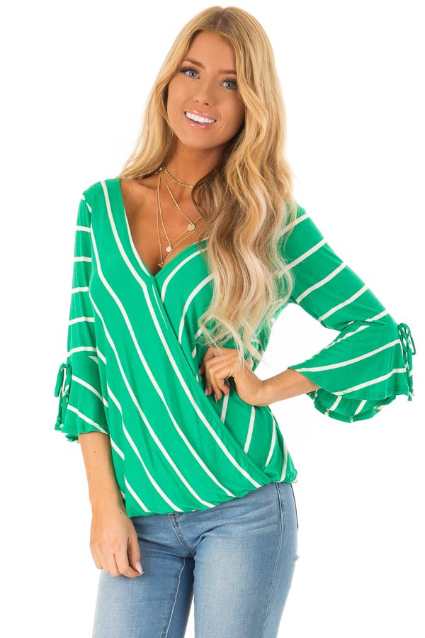 8c008cdb788c2 Clover Green and White Stripe Surplice Top with Bell Sleeves front close up