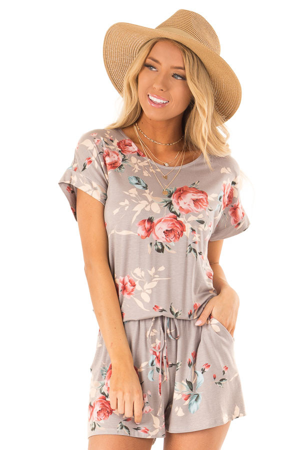 4ceb68e3266 Mocha Floral Short Sleeve Romper with Pockets - Lime Lush Boutique