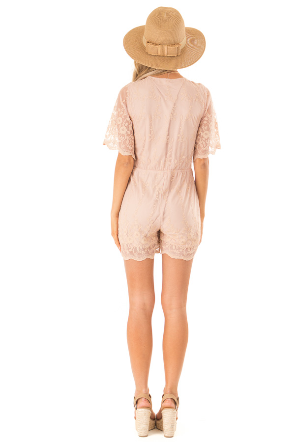 Apricot Short Sleeve Romper with Floral Embroidery Detail back full body
