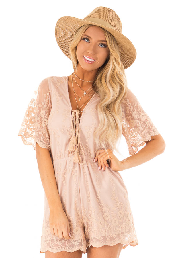 Apricot Short Sleeve Romper with Floral Embroidery Detail front close up