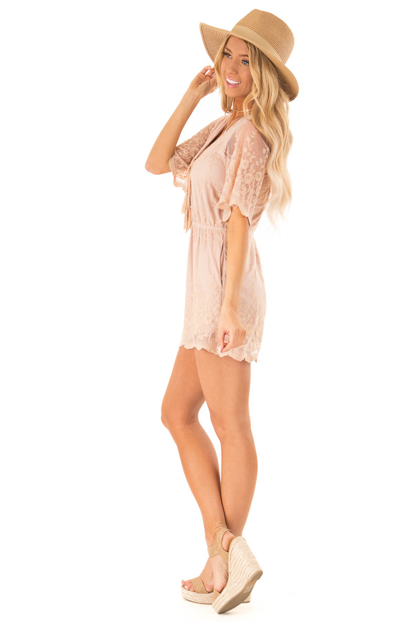 Apricot Short Sleeve Romper with Floral Embroidery Detail side full body