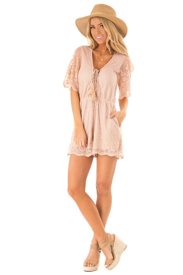 Apricot Short Sleeve Romper with Floral Embroidery Detail front full body