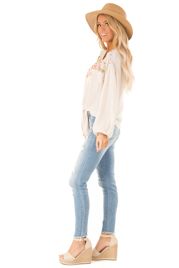 Oatmeal Peasant Top with Front Tie and Floral Embroidery side full body