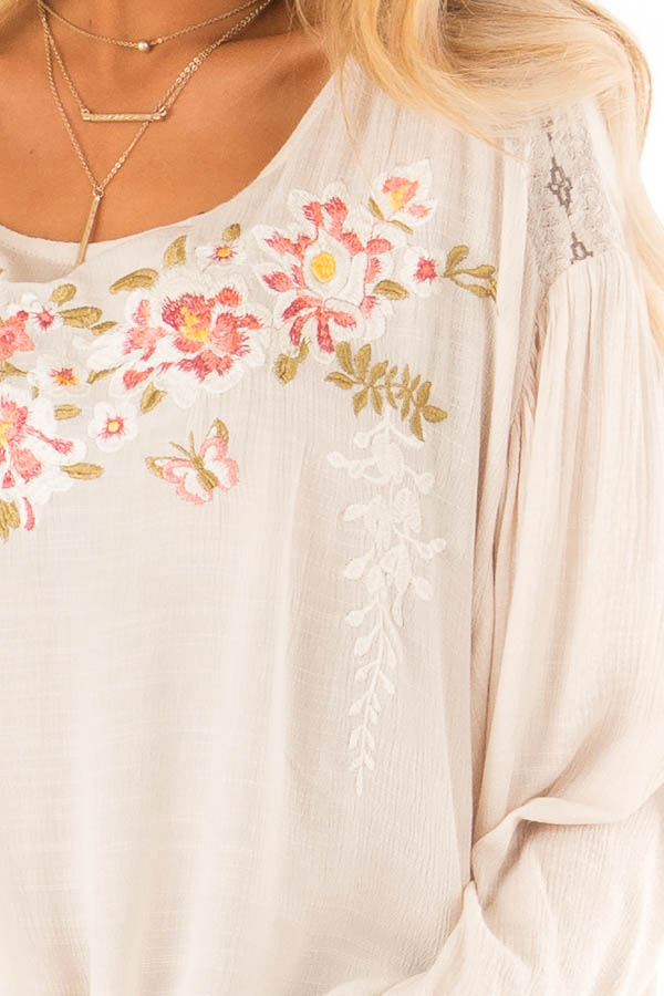Oatmeal Peasant Top with Front Tie and Floral Embroidery detail
