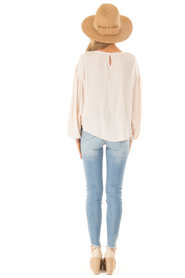 Oatmeal Peasant Top with Front Tie and Floral Embroidery back full body