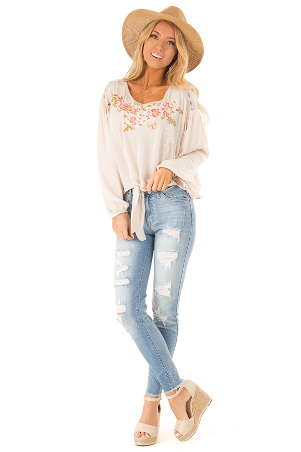 Oatmeal Peasant Top with Front Tie and Floral Embroidery front full body