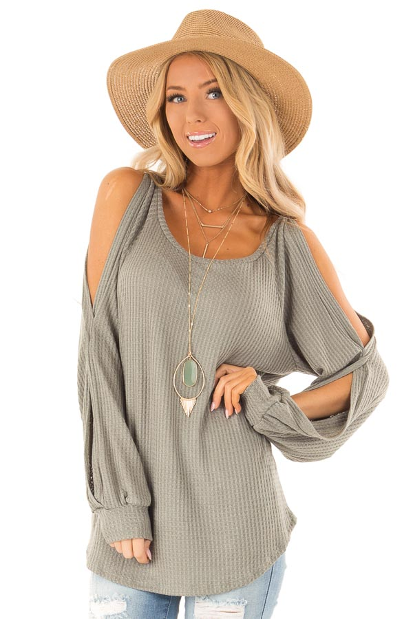 f228381421ce08 Sage Green Waffle Knit Cold Shoulder Long Sleeve Top - Lime Lush ...