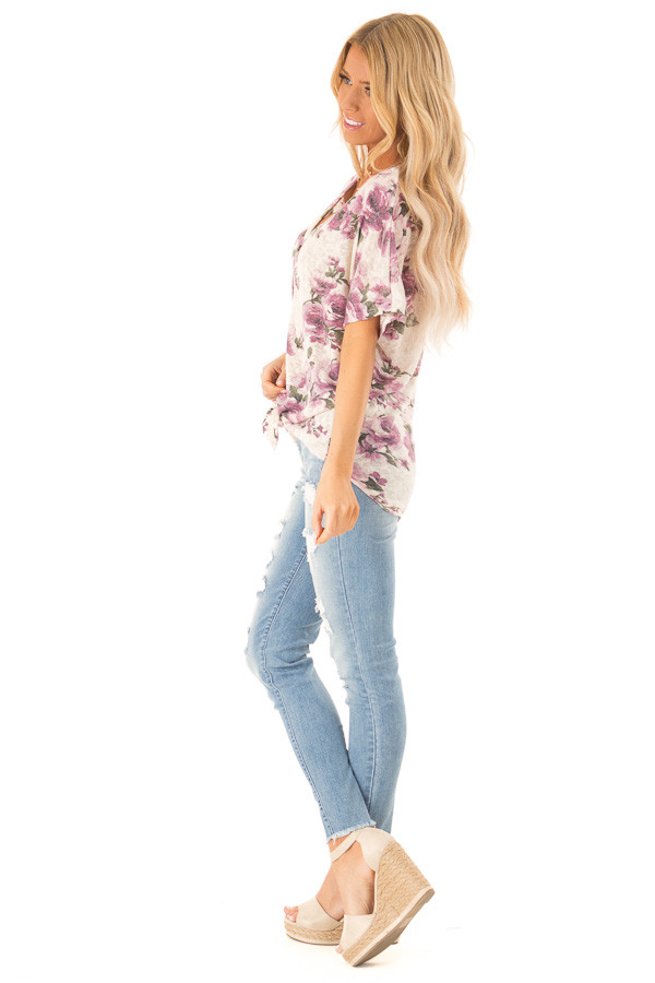 Ivory Button Up Top with Floral Print and Front Tie side full body