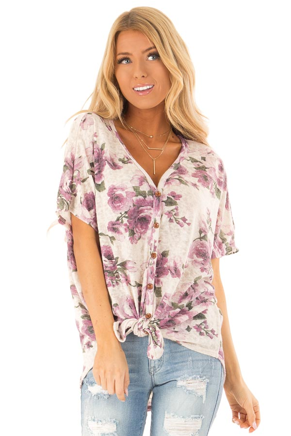 Ivory Button Up Top with Floral Print and Front Tie front close up