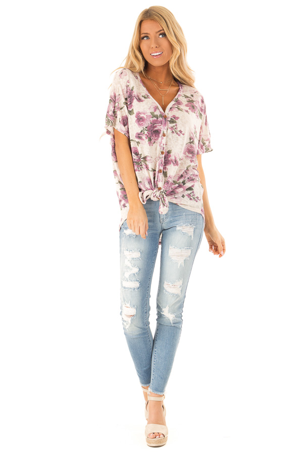 Ivory Button Up Top with Floral Print and Front Tie front full body