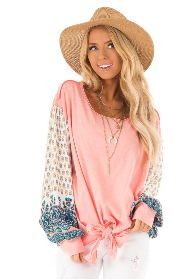 Peach and Paisley Long Sleeve Bubble Sleeve Top front close up