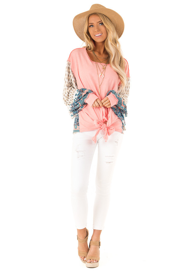 Peach and Paisley Long Sleeve Bubble Sleeve Top front full body