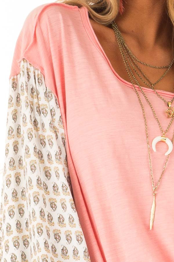 Peach and Paisley Long Sleeve Bubble Sleeve Top detail