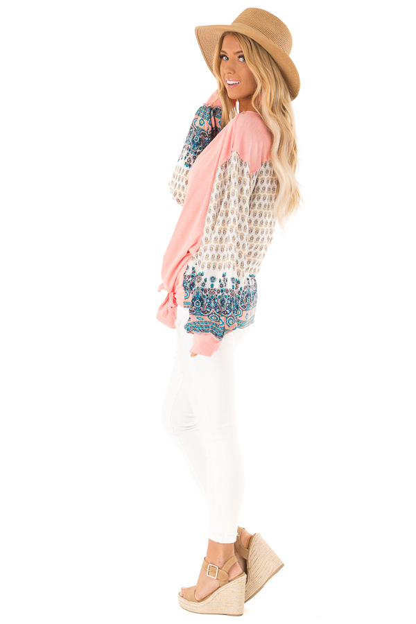 Peach and Paisley Long Sleeve Bubble Sleeve Top side full body