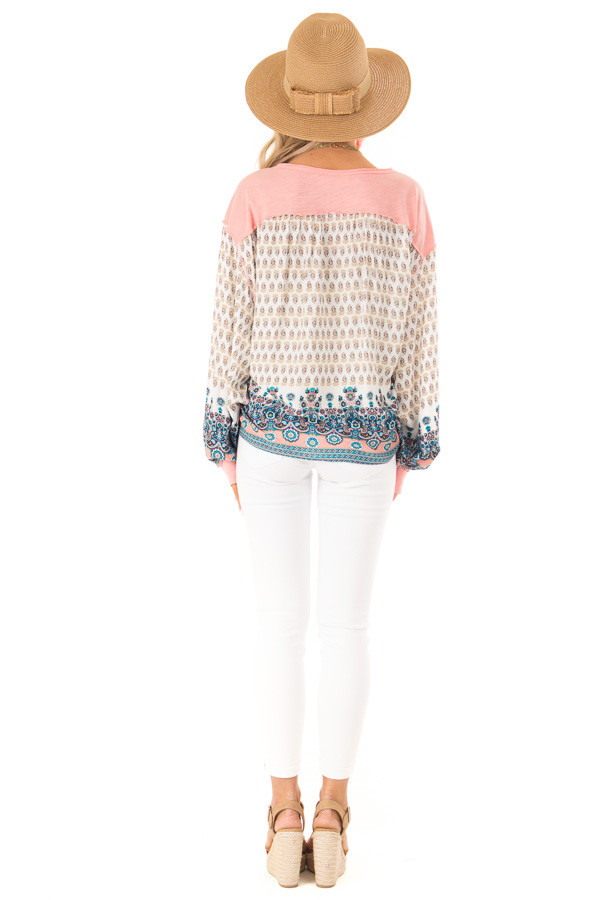 Peach and Paisley Long Sleeve Bubble Sleeve Top back full body