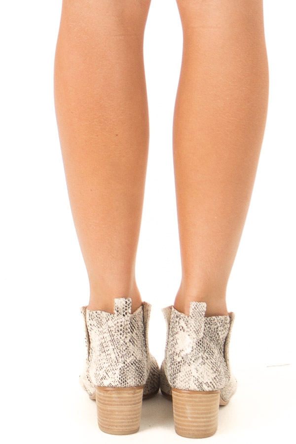 Ivory and Black Snake Print Open Toe Heeled Bootie back view