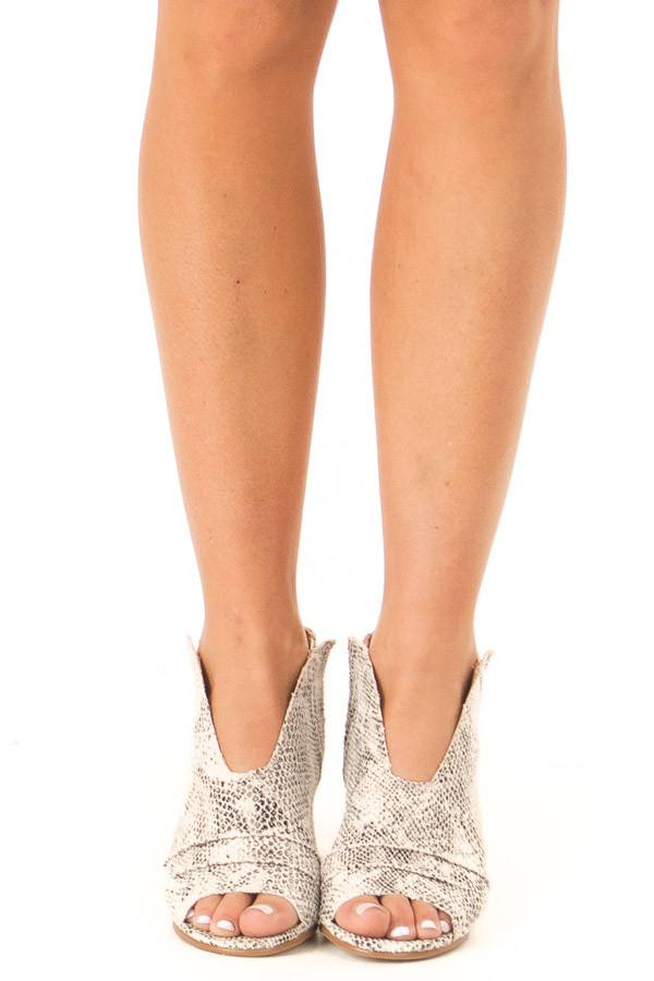 Ivory and Black Snake Print Open Toe Heeled Bootie front view