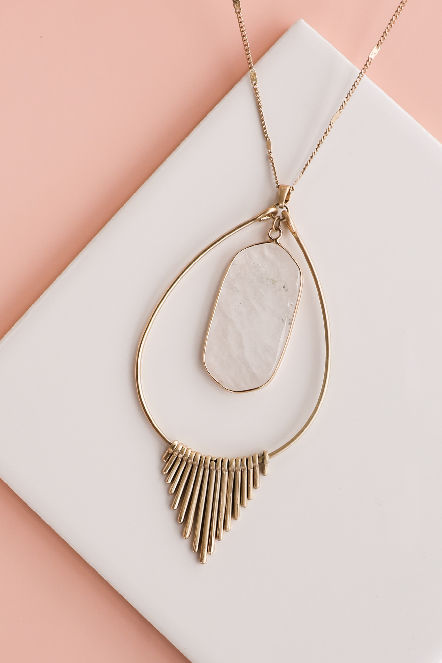 Gold Long Necklace with Crystal Pendant and Metal Fringe